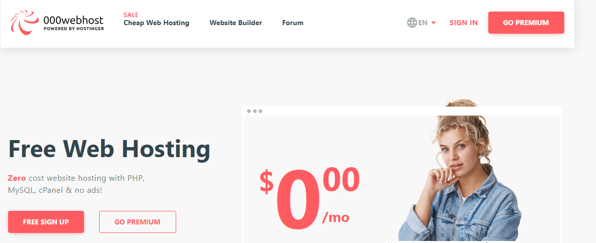 Screenshot of the 000WebHost home page and explanations of free web hosting plans