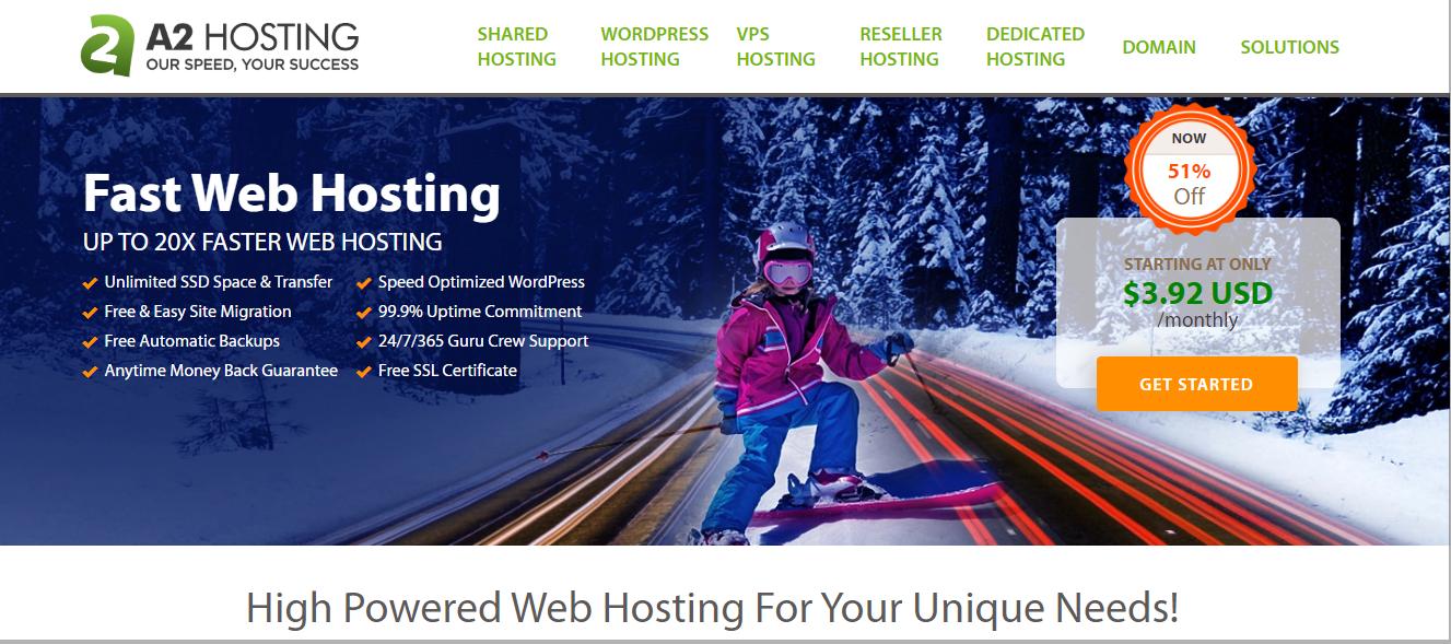 Schermata della pagina iniziale di hosting A2