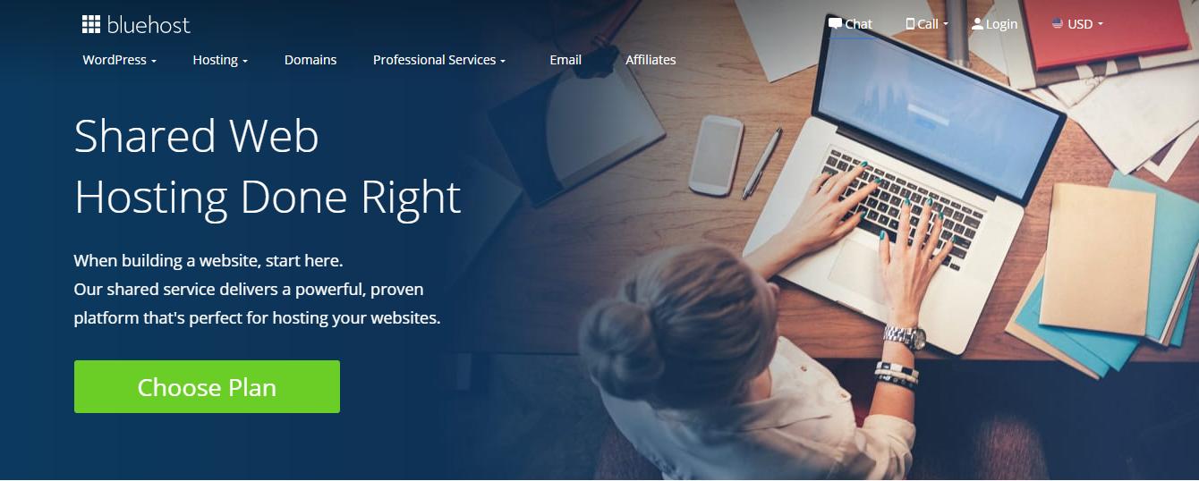 Schermata della home page di Bluehost