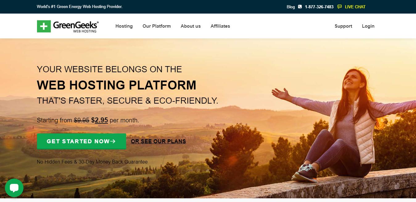 Schermata della home page di GreenGeeks