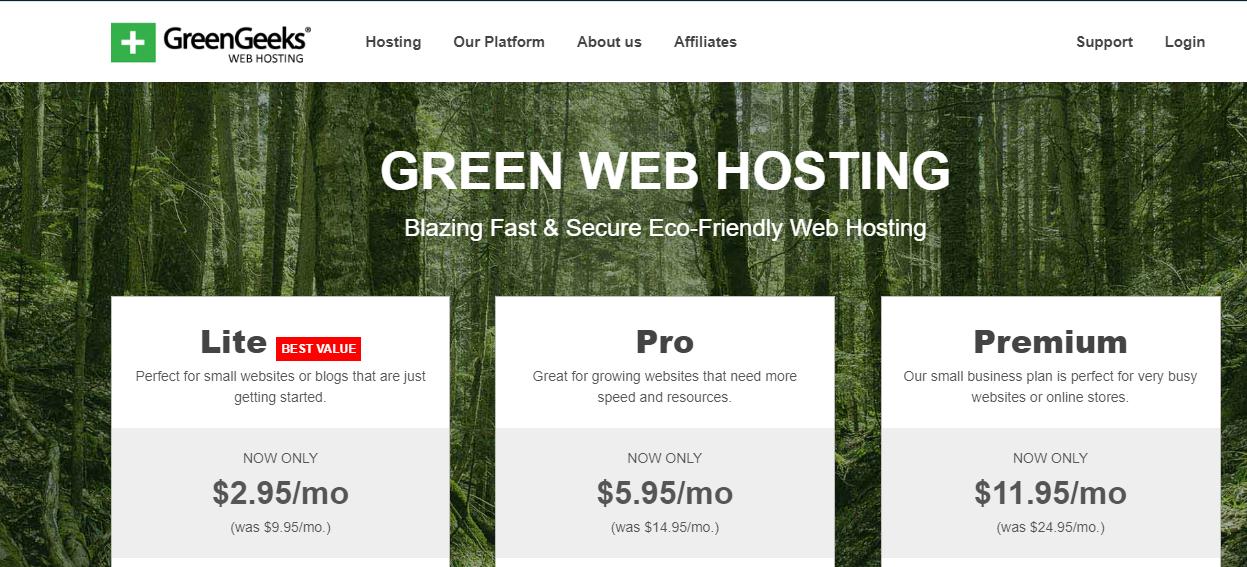 Confronto del piano tariffario di hosting condiviso di greengeeks (screenshot)