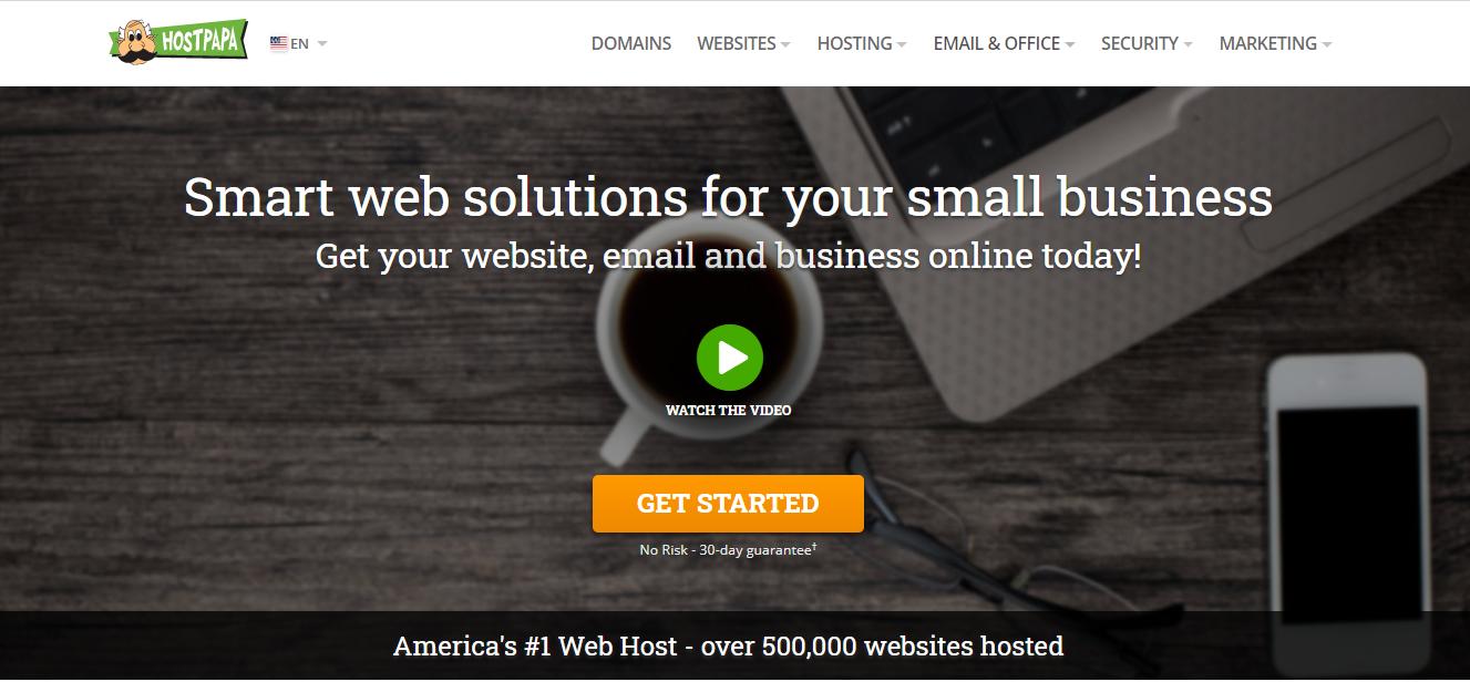 Schermata della pagina principale di HostPapa