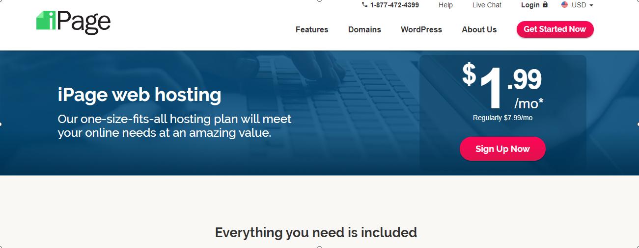 Schermata della home page di iPage Hosting