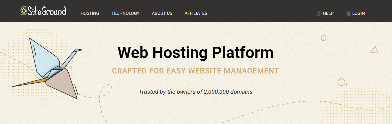 Homepage della piattaforma di web hosting di Siteground
