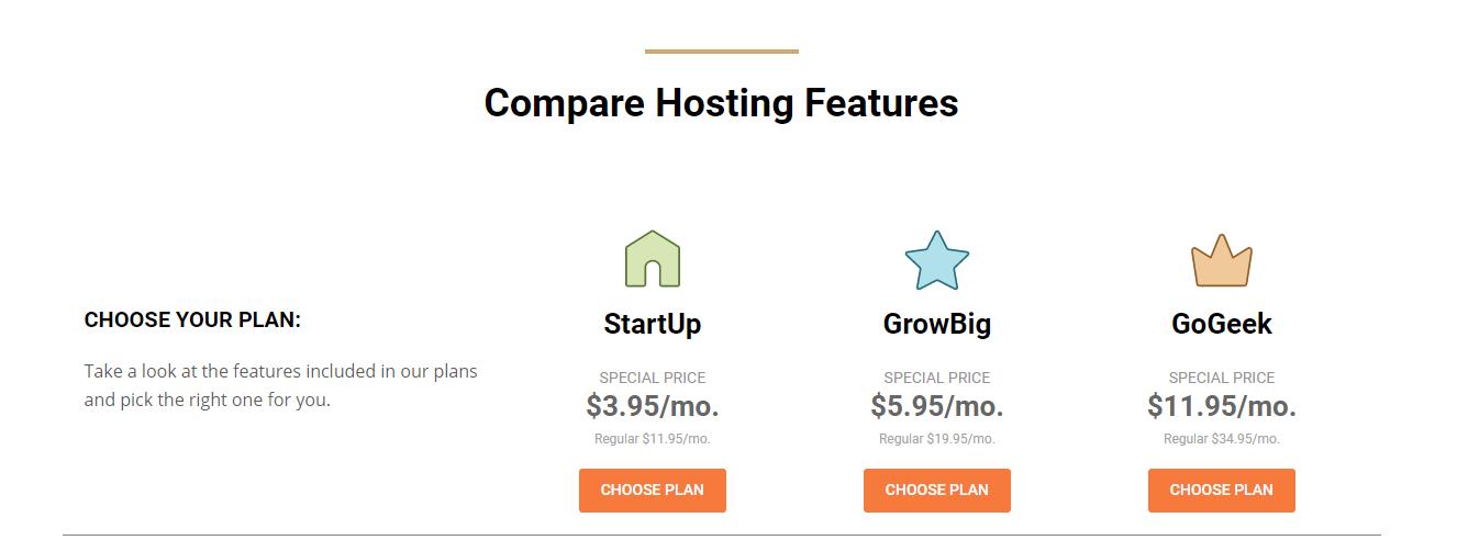 Confronto tra piani e prezzi di hosting condiviso di Siteground