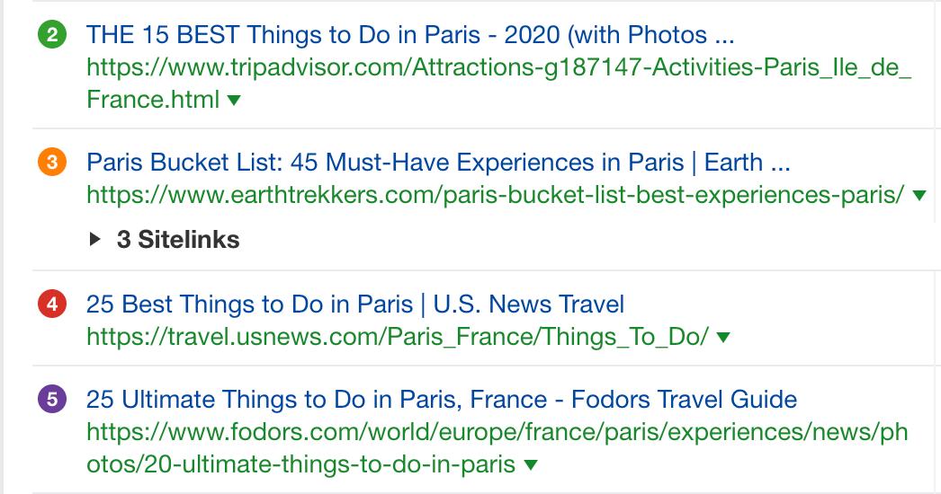 أشياء للقيام بها في باريس (لقطة شاشة) في كيفية السفر مدونة وبحث الكلمات الرئيسية