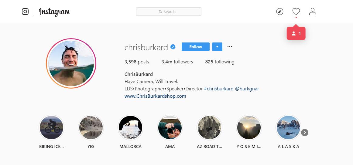 مثال كريس بوركارد (Instagram) عن كيفية بدء مدونة السفر