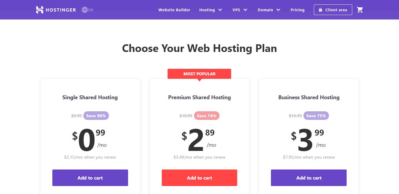 Confronto tra i piani di hosting condiviso di Hostinger e analisi dei prezzi