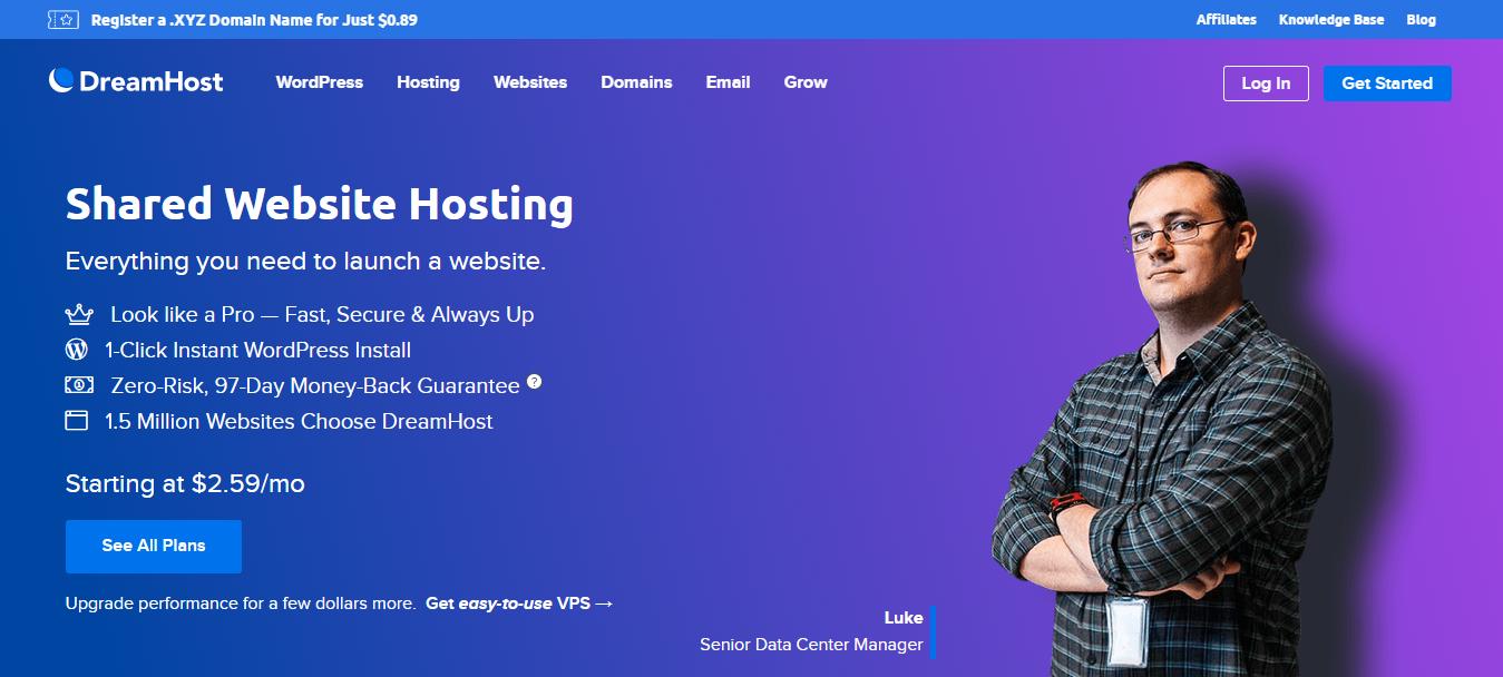 Schermata della pagina di destinazione dell'hosting condiviso di Dreamhost