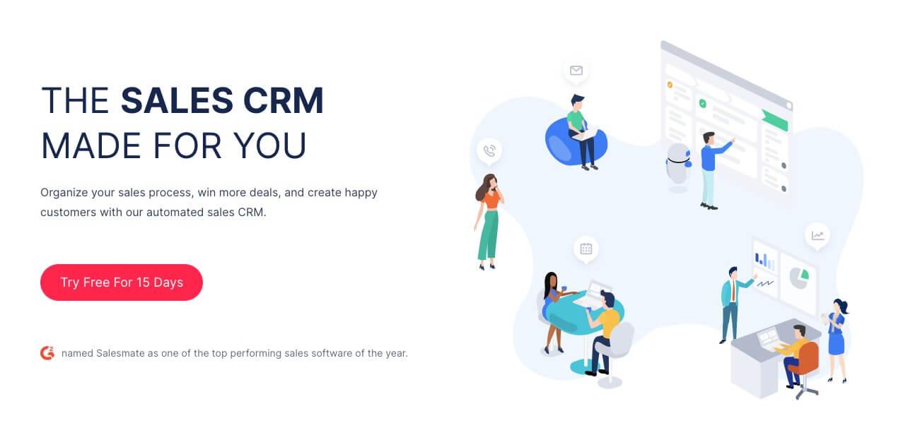 Salesmate Homepage (Best CRMs List and Reviews) Screenshot