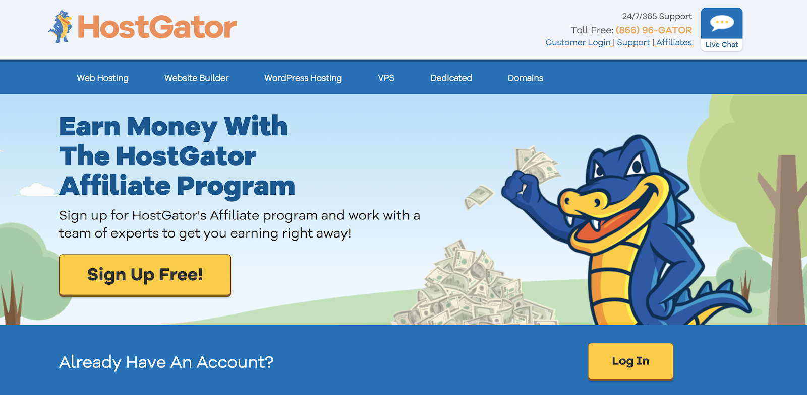 HostGator's Affiliate Program Landing Page (Screenshot)