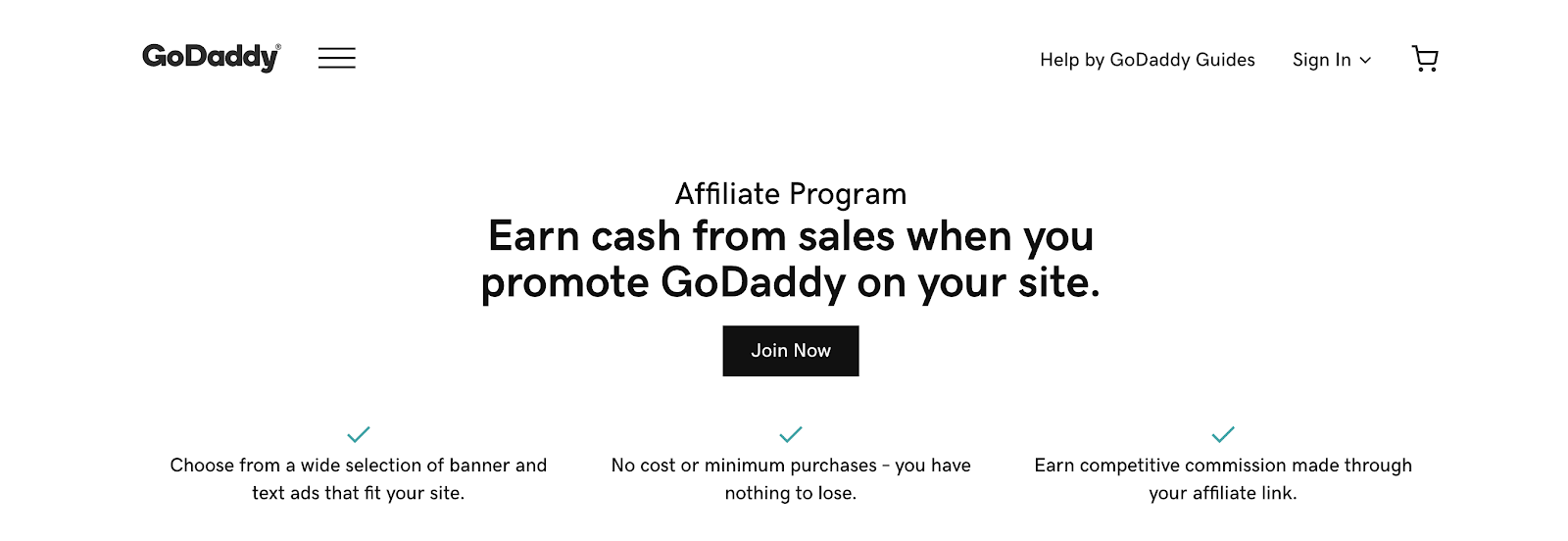 GoDaddy Affiliate Program Landing Page (Screenshot)