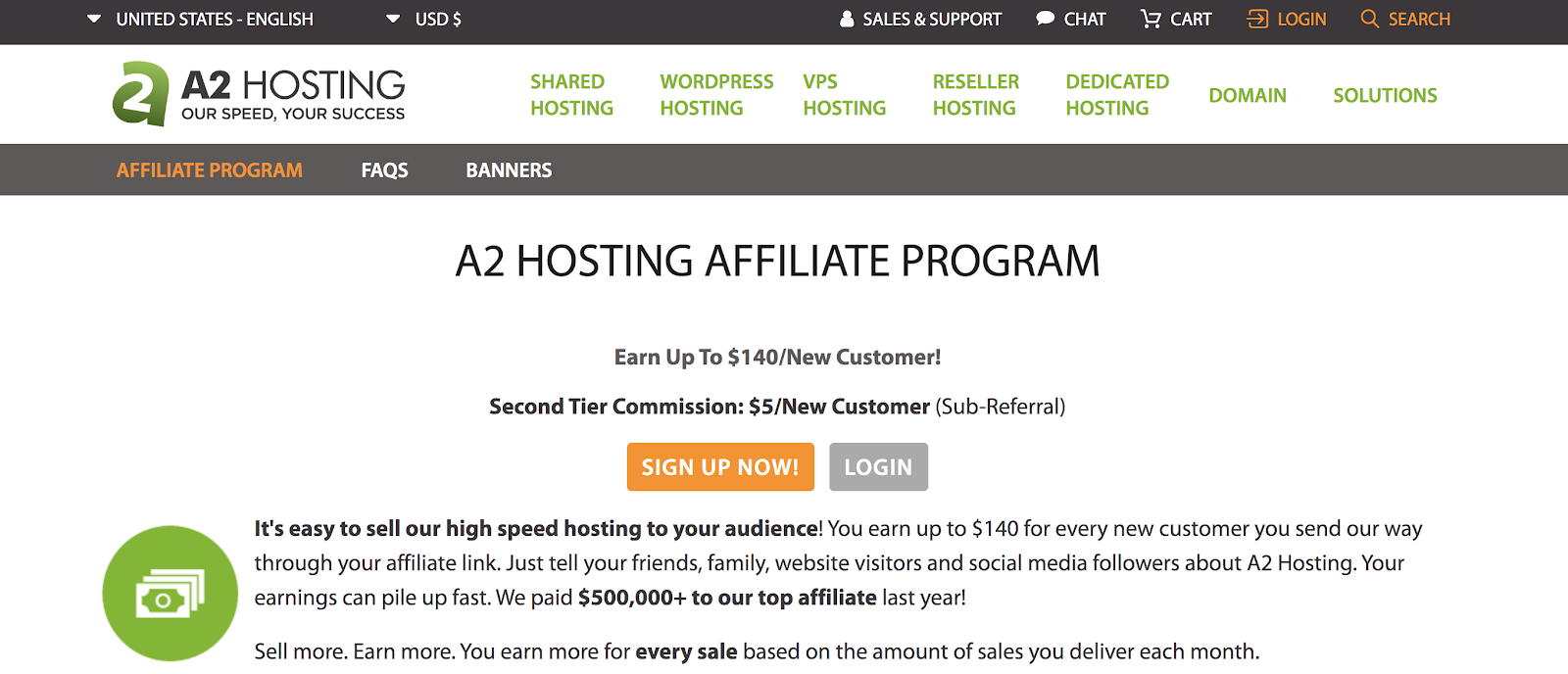 A2 Hosting Referral Program Page (Screenshot)