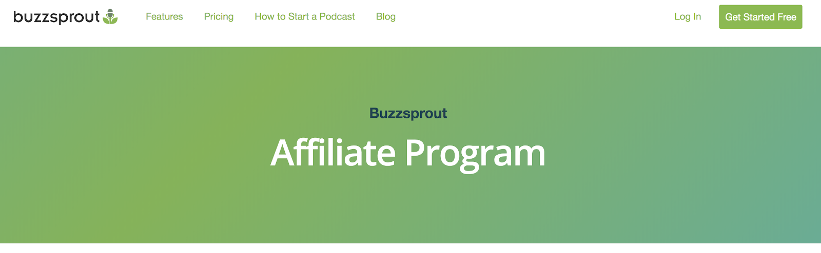 Buzzsprout Affiliate Program Landing Page (Screenshot)