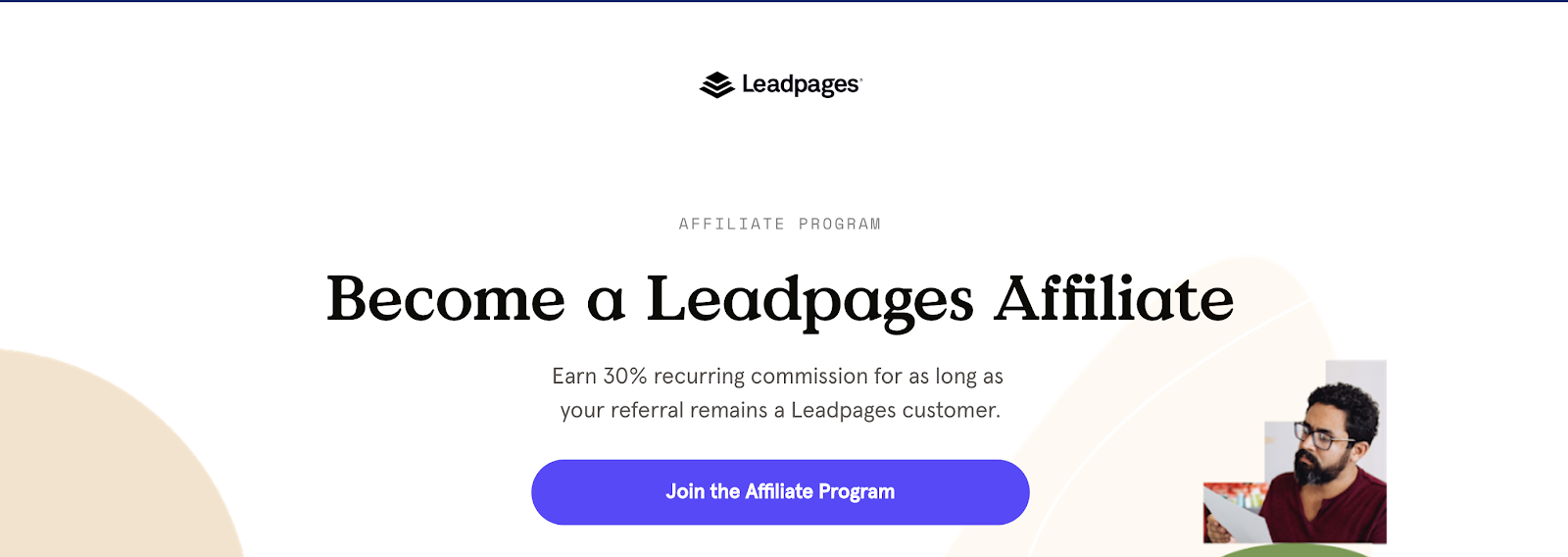LeadPages Affiliate Program Landing Page (Screenshot)