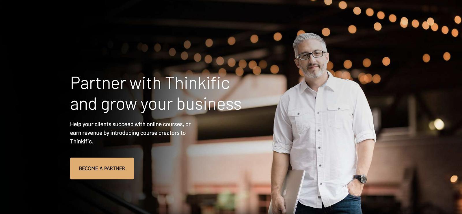 Pagina partner di Thinkific (schermata)