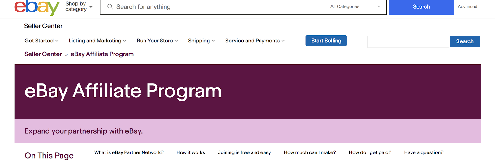 eBay Affiliate Program Landing Page (Screenshot)