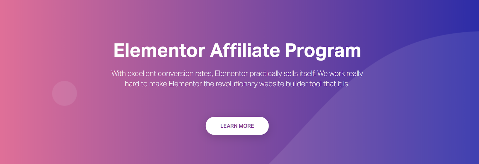 Elementor WordPress Theme Affiliate Program Page Screenshot