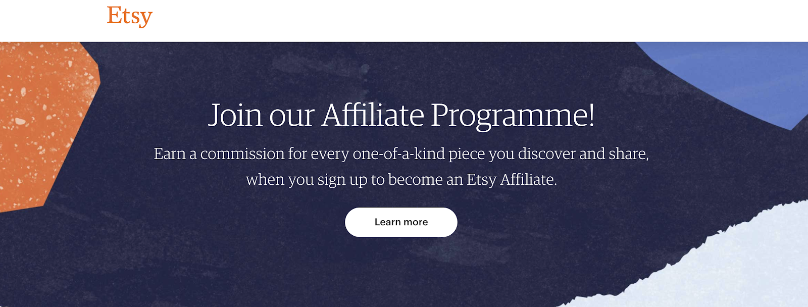 Etsy's Affiliate Program Landing Page (Screenshot)