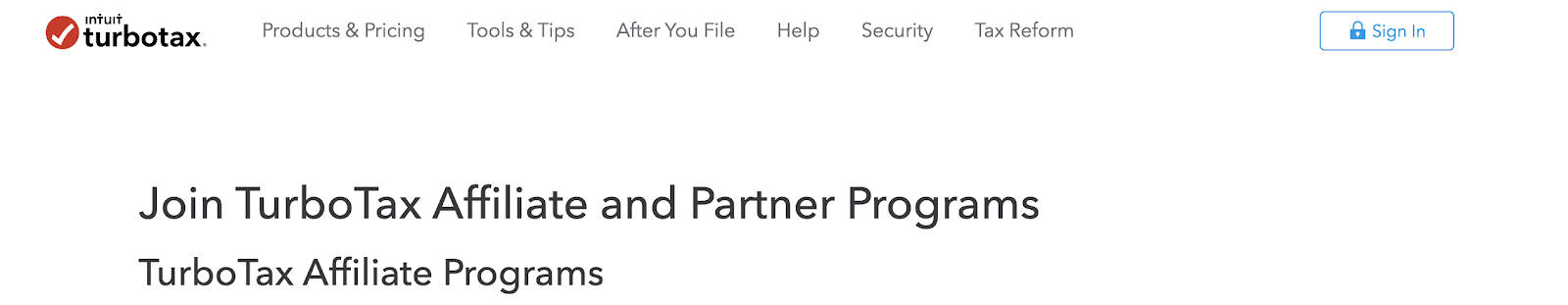 TurboTax Affiliate Program Landing Page (Screenshot)