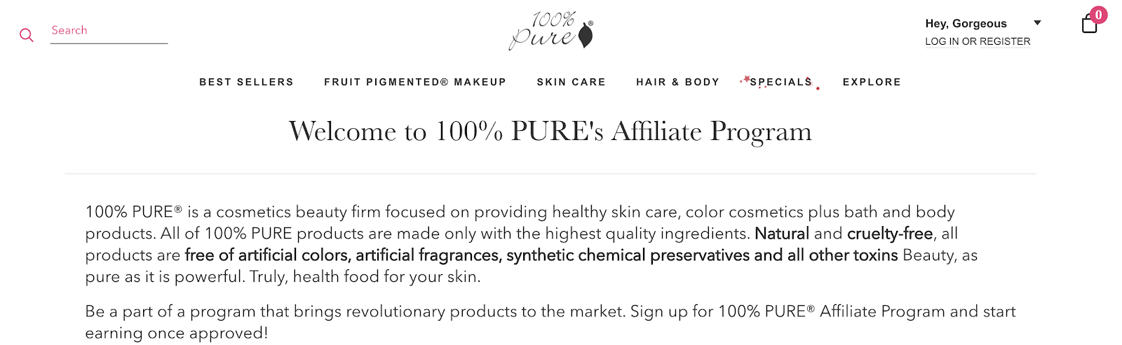 100% Pure Beauty and Makeup Affiliate Program for Bloggers