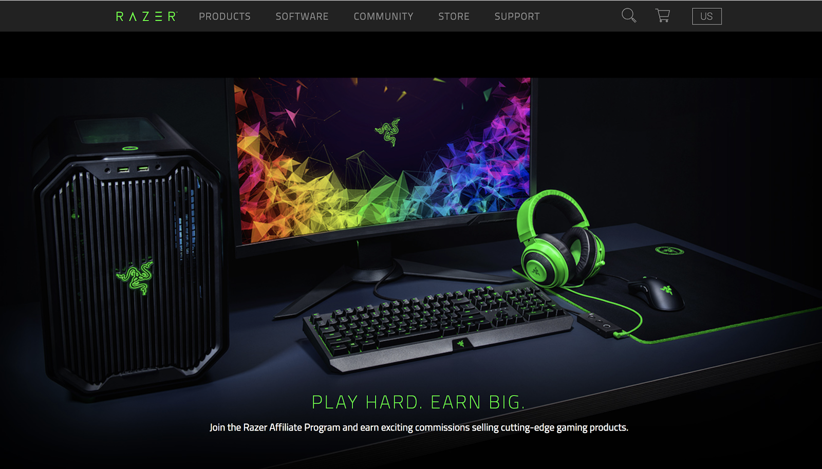 Razer Gaming Products Referral Program Screenshot Image