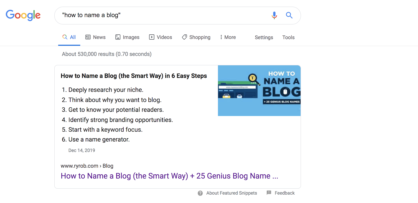 Google Search Result Screenshot (Name a Blog Keyword Phrase) in Nailing Your SEO