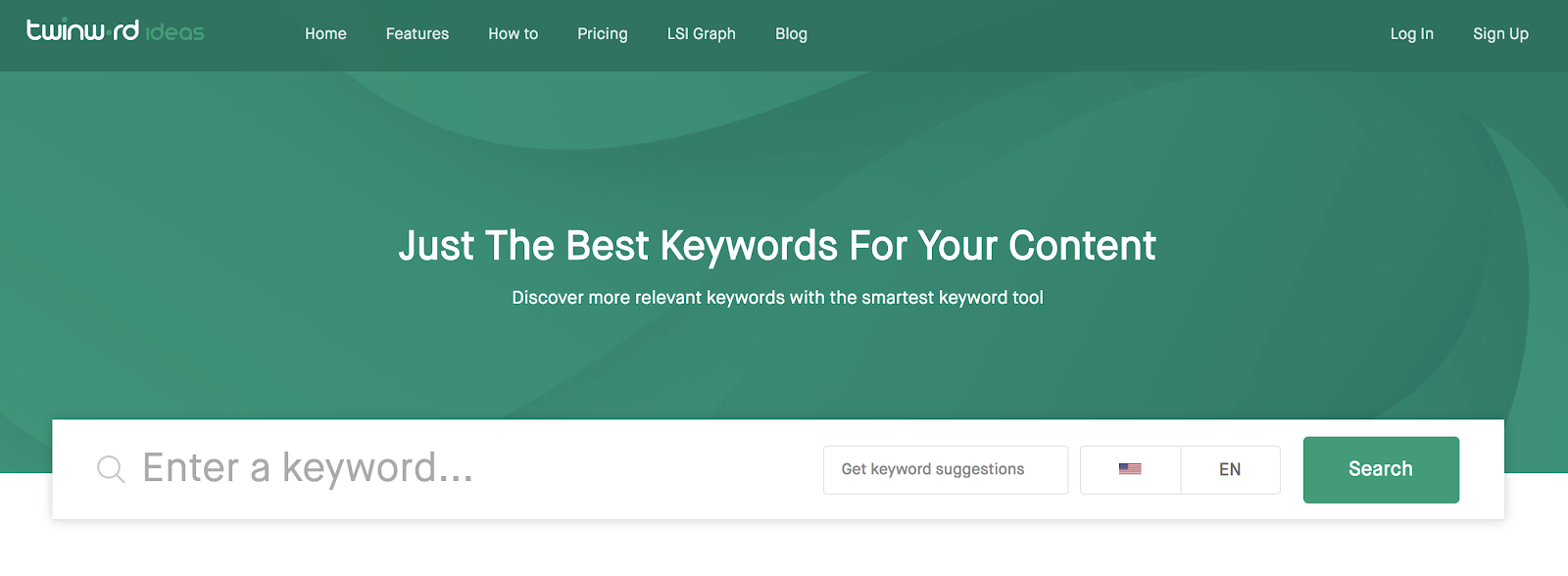 Twinword Ideas Keyword Research Tool (Homepage Screenshot)