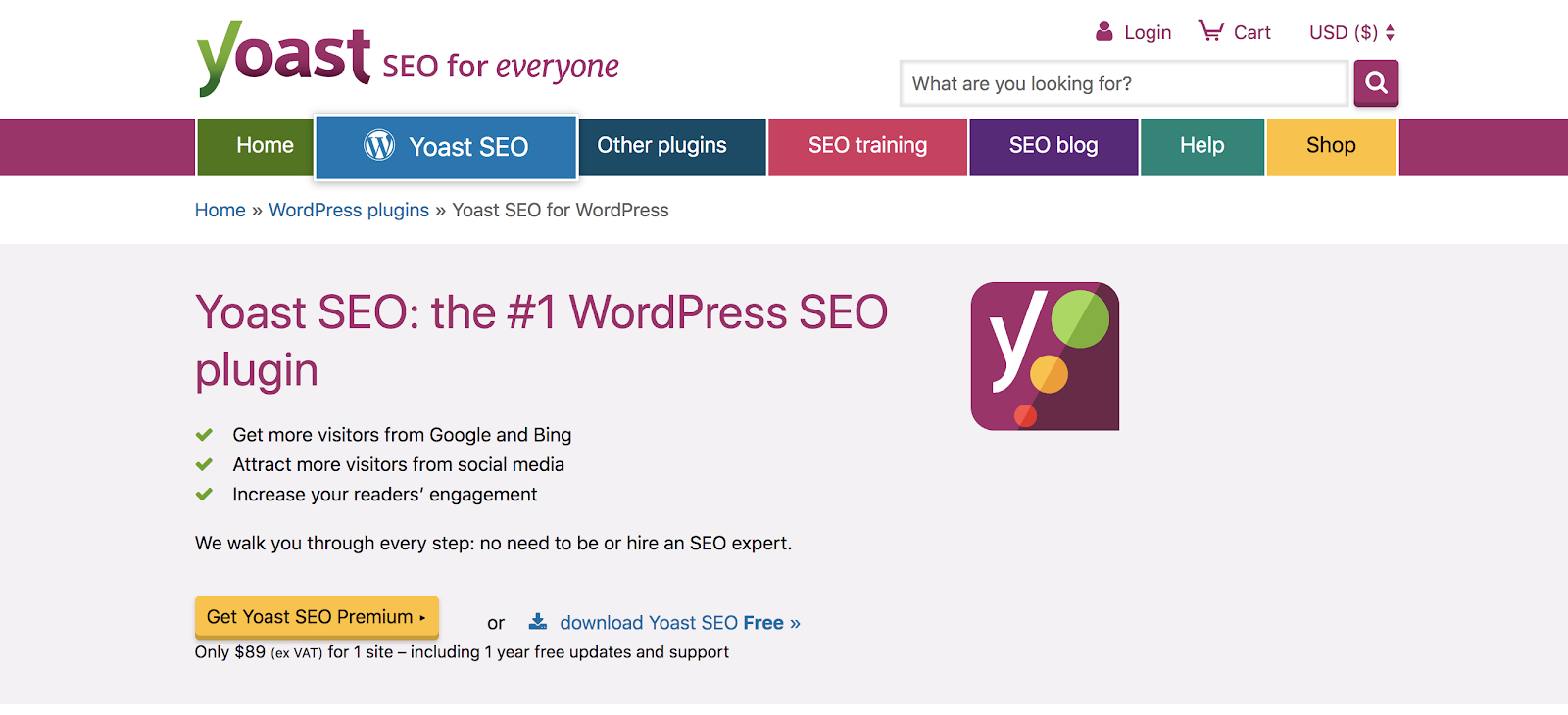 Yoast SEO WordPress Plugin for Bloggers (Homepage Screenshot)