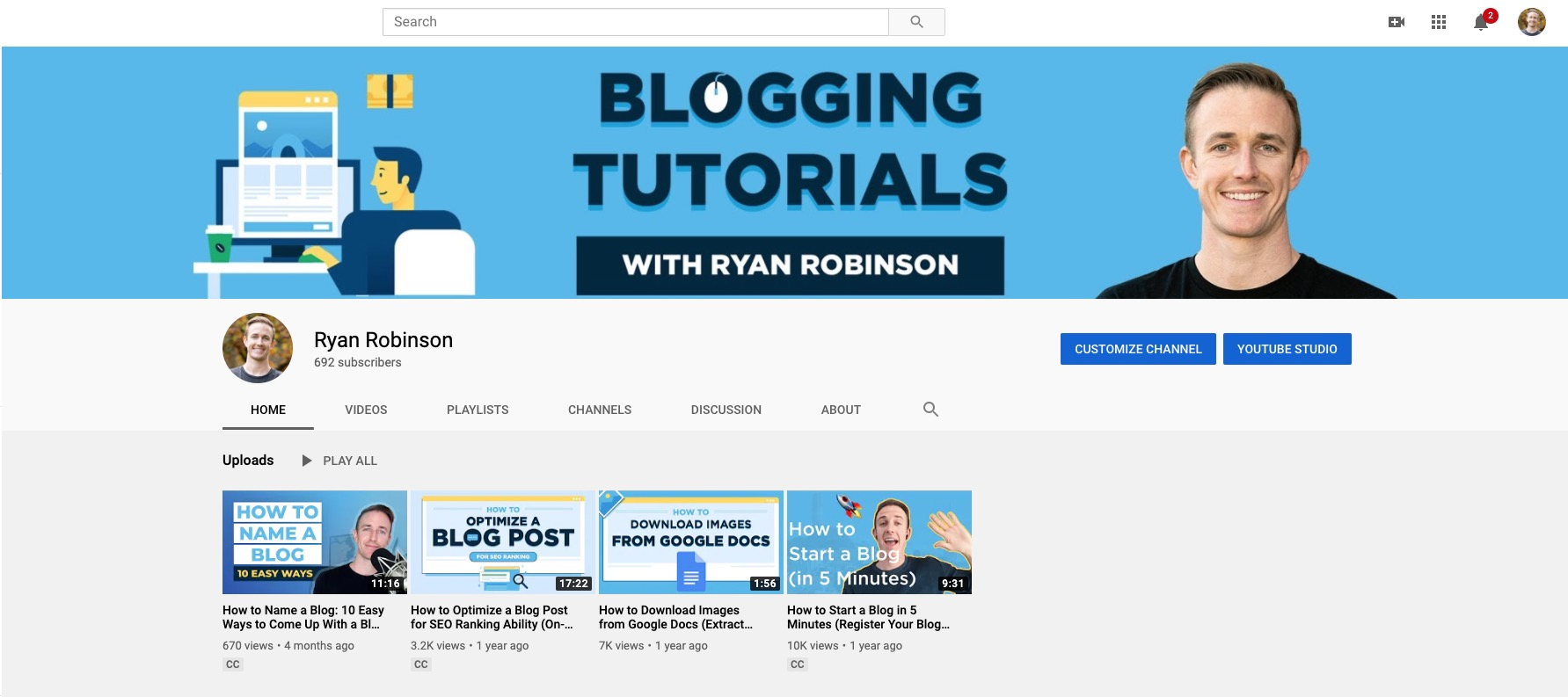 Using YouTube to Promote Your Blog (Screenshot of Ryan Robinson Blog YouTube Channel)