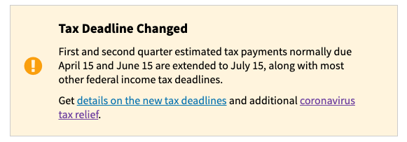 Quarterly Estimated Tax Payment Dates Updated in 2020