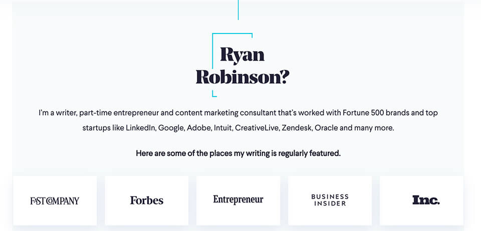 Ryan Robinson About Page Screenshot (Example of Blog Promotion on About Page)
