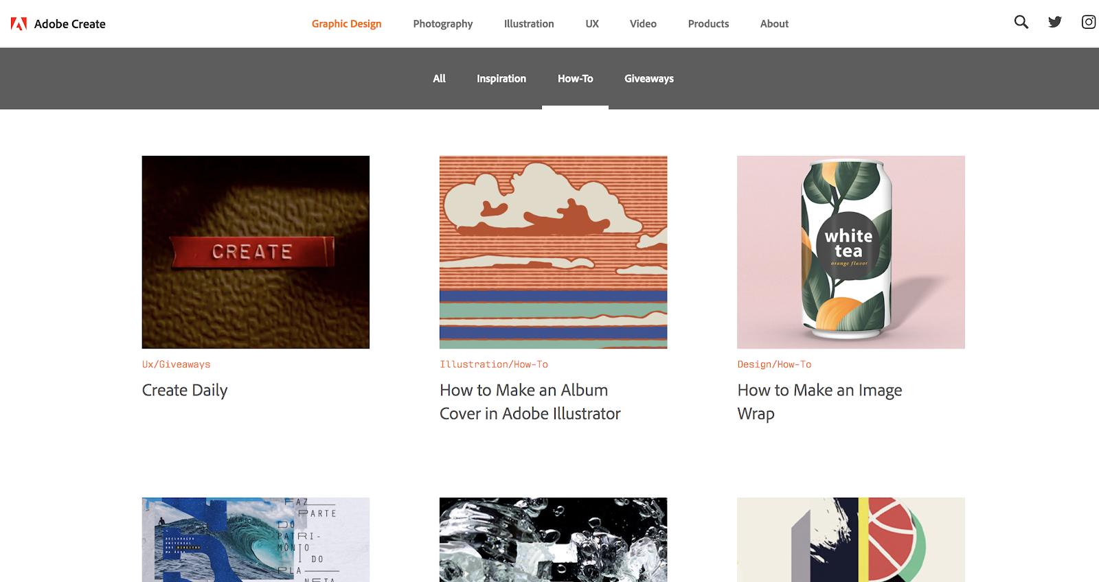 Adobe Create Homepage Screenshot (Blog Layout Examples)