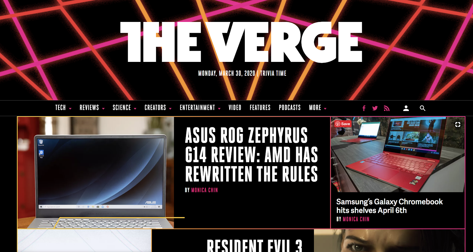 The Verge Homepage Screenshot (Blog Layout Examples)