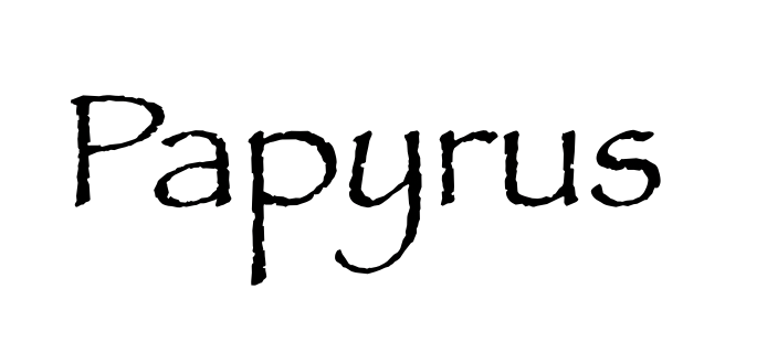 Screenshot of Papyrus font (bad fonts for use in blog design)