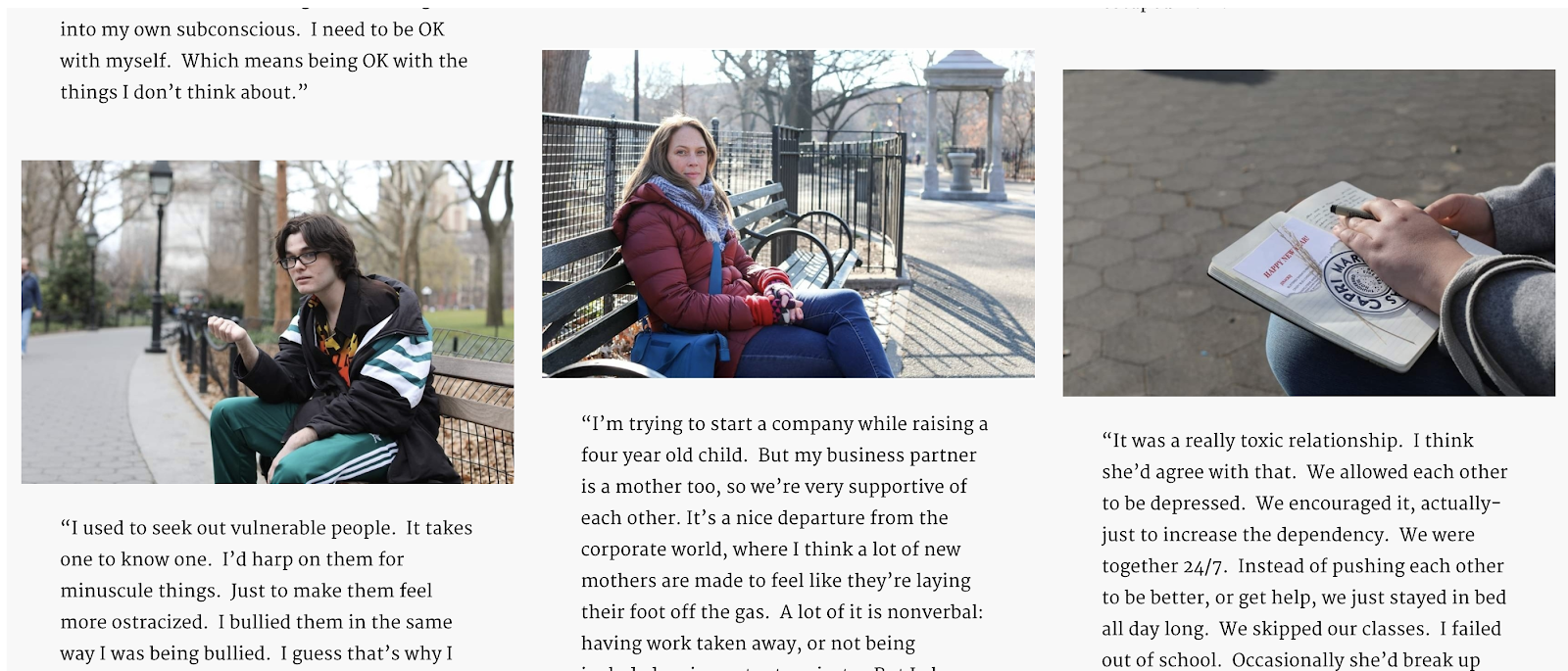 Humans of New York Blog Layout Screenshot (Stories Using Images Example)