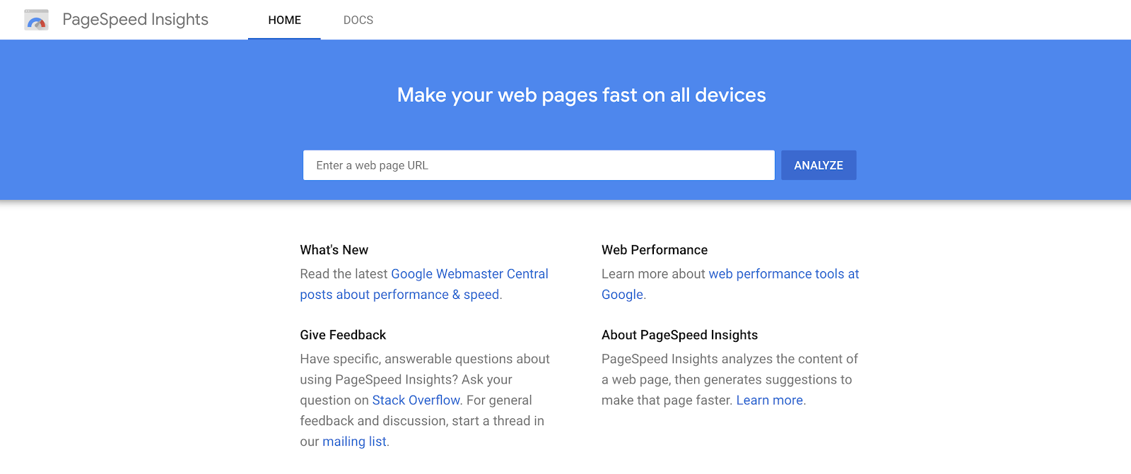 Google Page Speed Insights Tool (Screenshot) to See Page Load Time