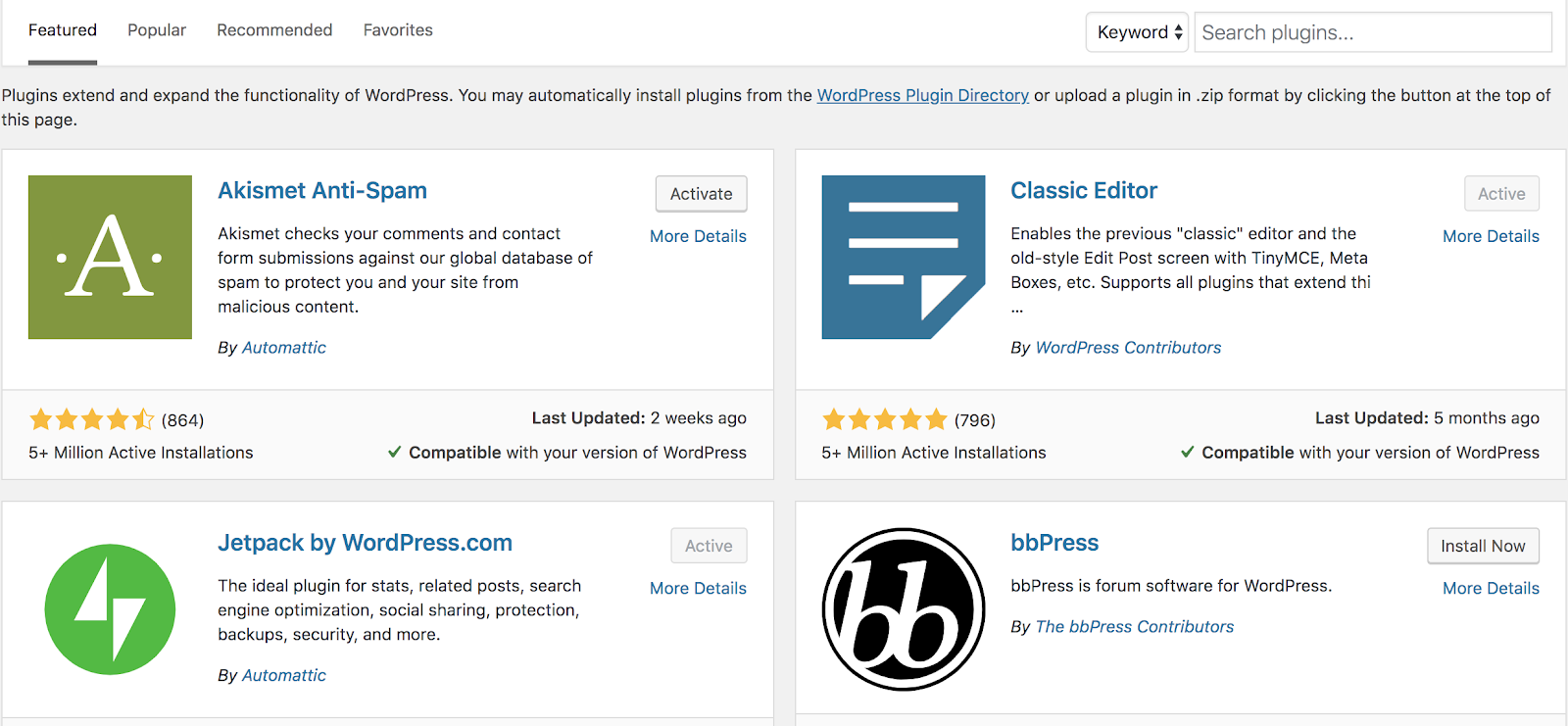 Removing Unnecessary Plugins (to Increase Your Blog Speed) Screenshot of WordPress plugins