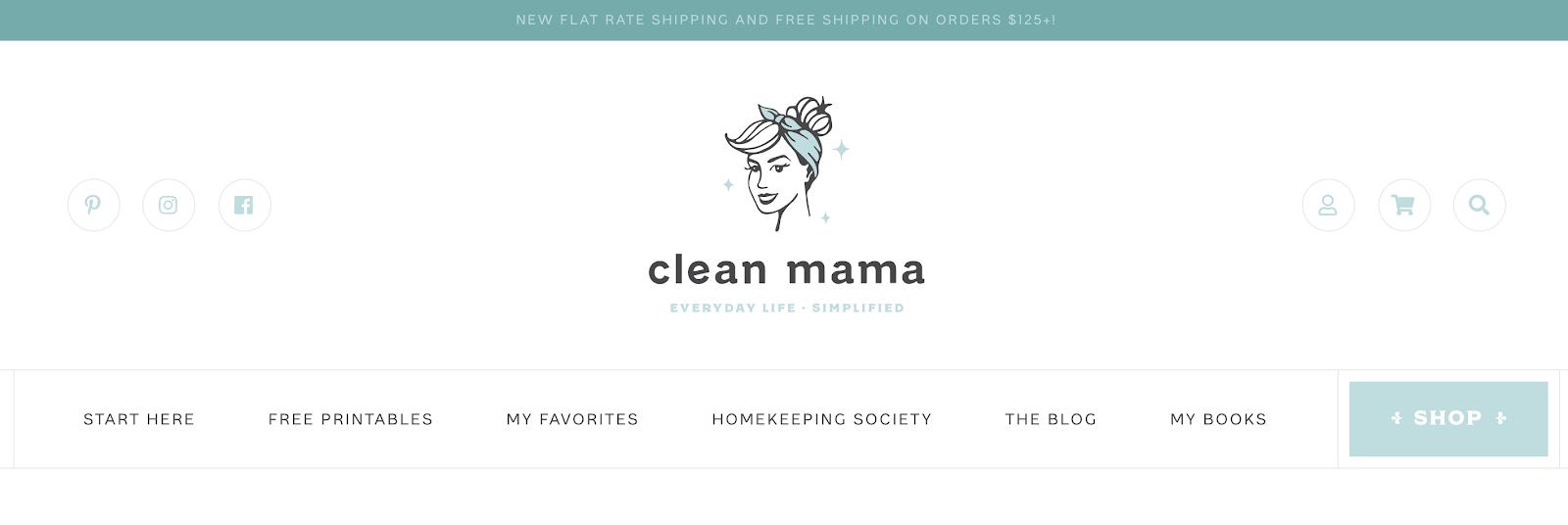Clean Mama Homepage Screenshot (Menu Example)