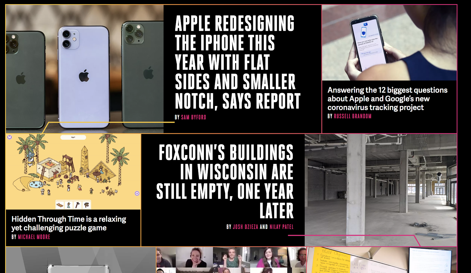 The Verge Blog Homepage Design (Screenshot)
