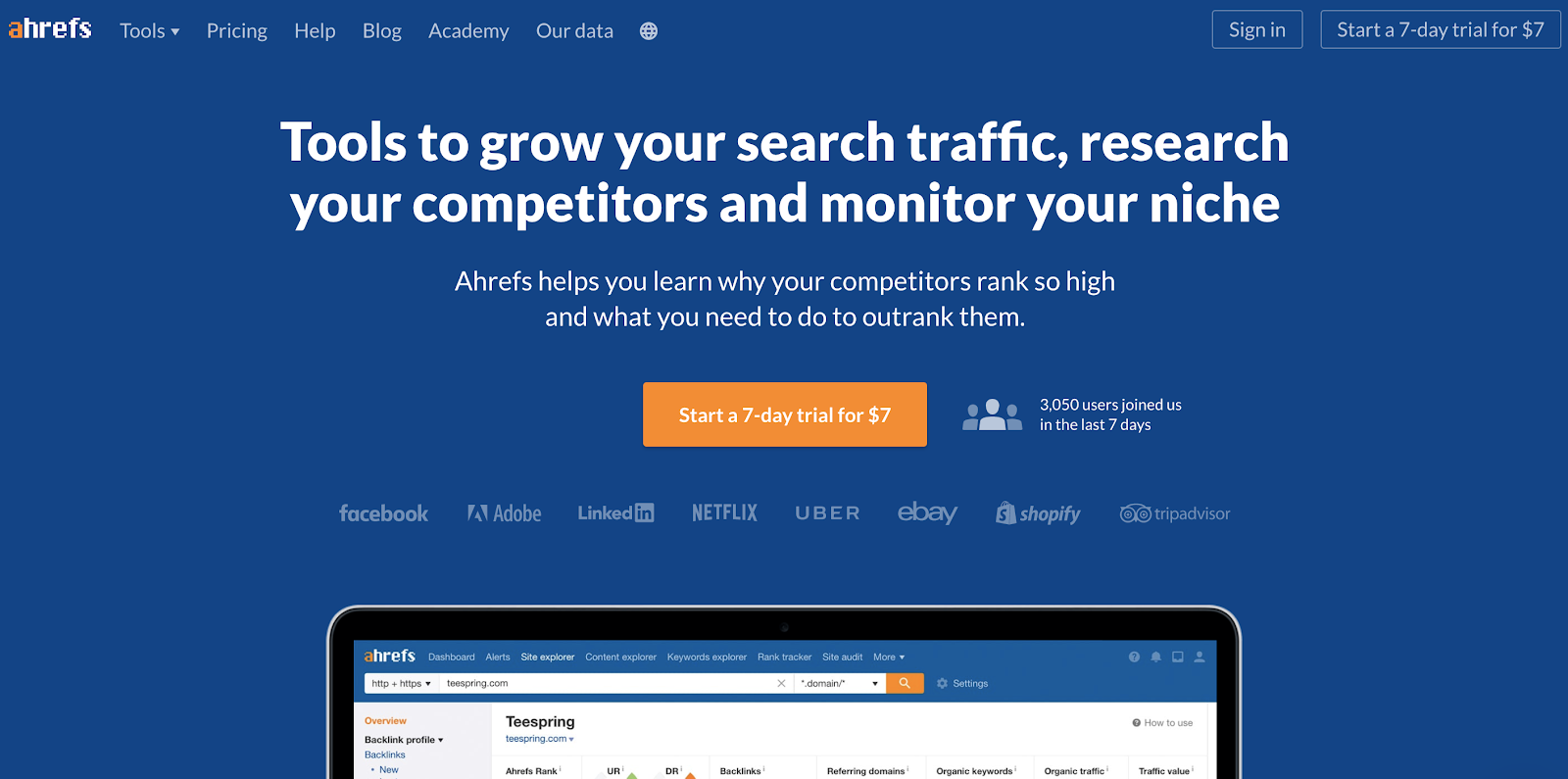 Ahrefs Homepage Screenshot (Blog Layout Examples)