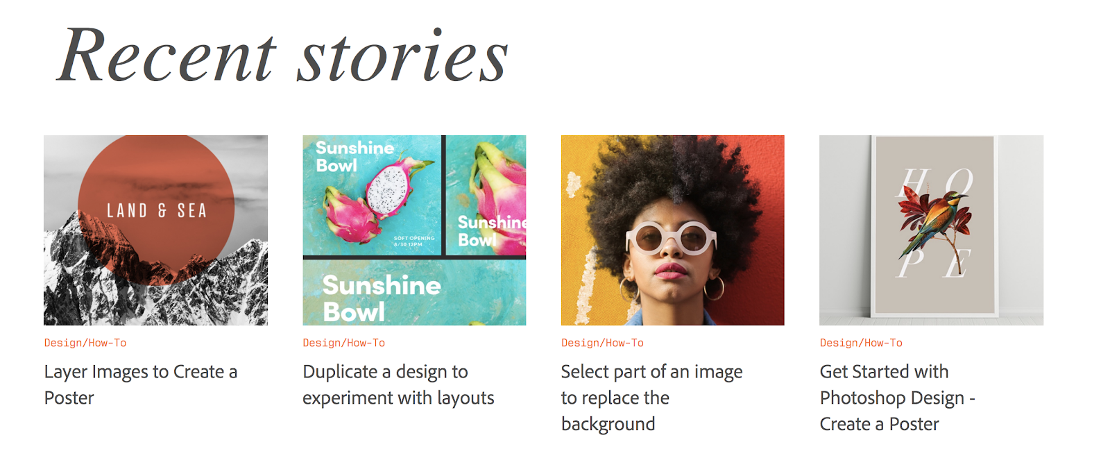 Adobe Create Recent Stories (and Featured Images) Screenshot