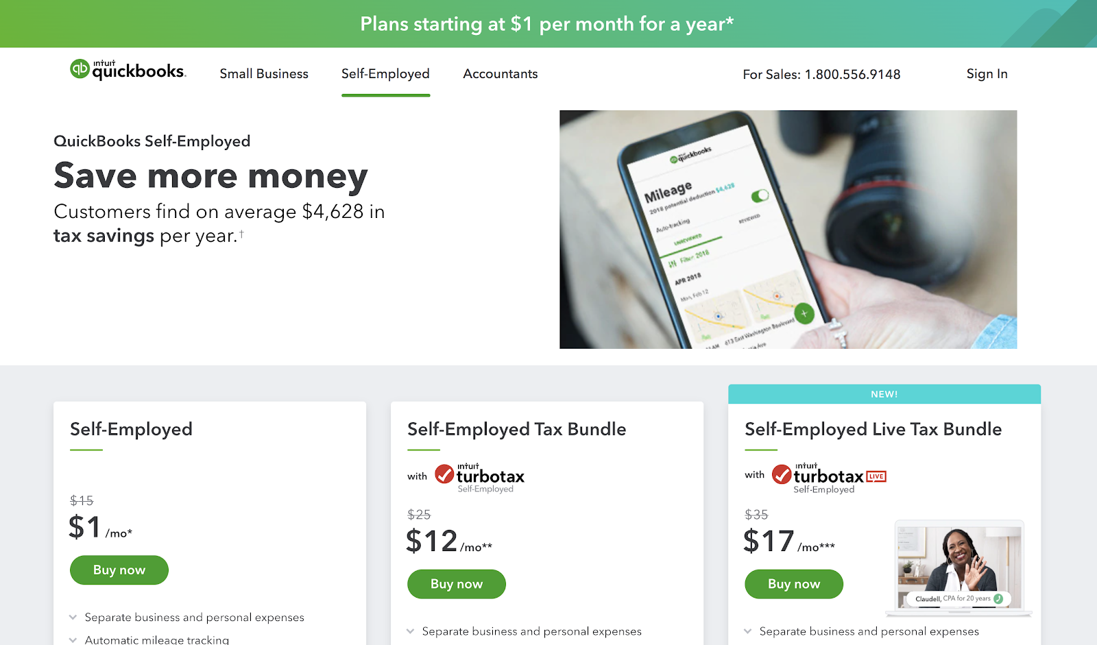 QuickBooks Self-Employed (Homepage Screenshot) for Bloggers