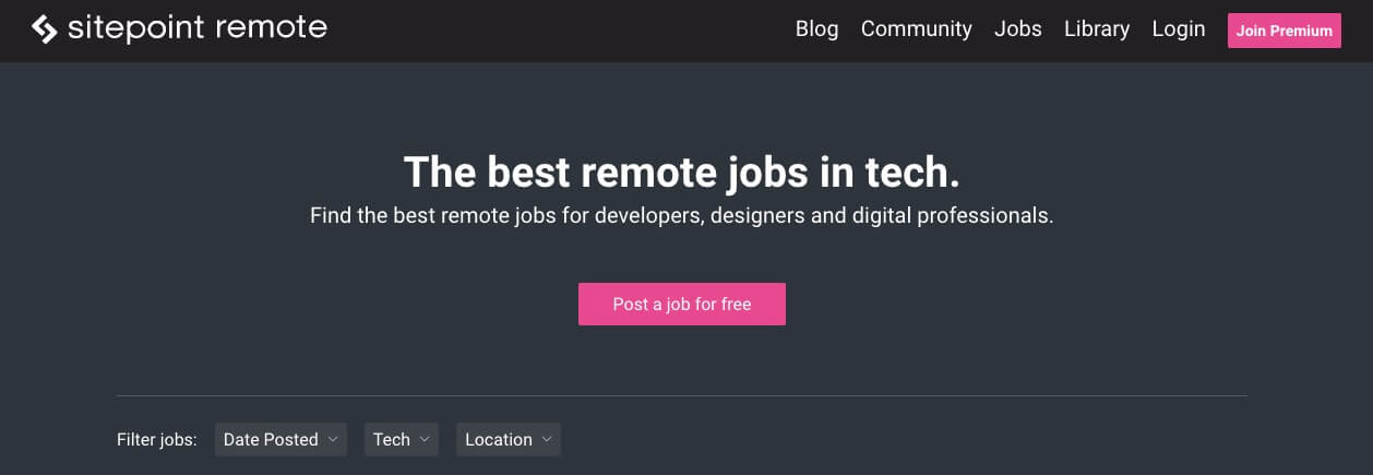 SitePoint Remote Jobs Board (Homepage Screenshot)