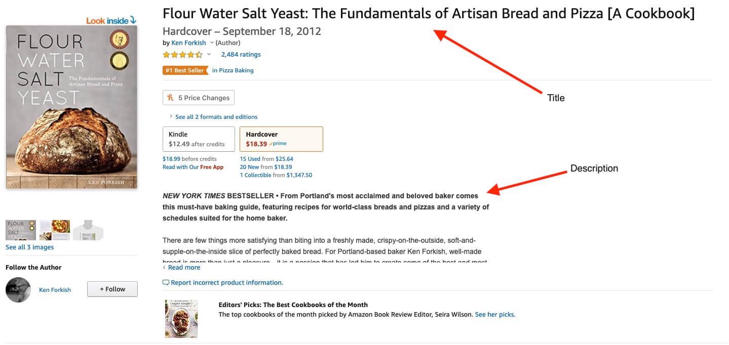 Amazon eBook Listing Example (Bread Baking Screenshot) Title