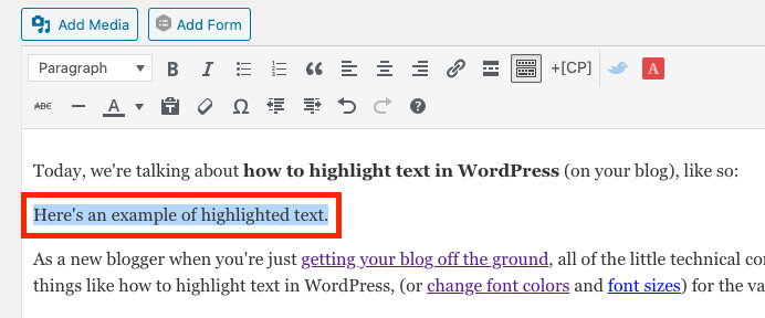 Example of selected text in the classic WordPress editor (screenshot)
