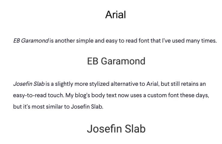 How to Choose the Right Font for Your eBook Design (Screenshot of Font Options)