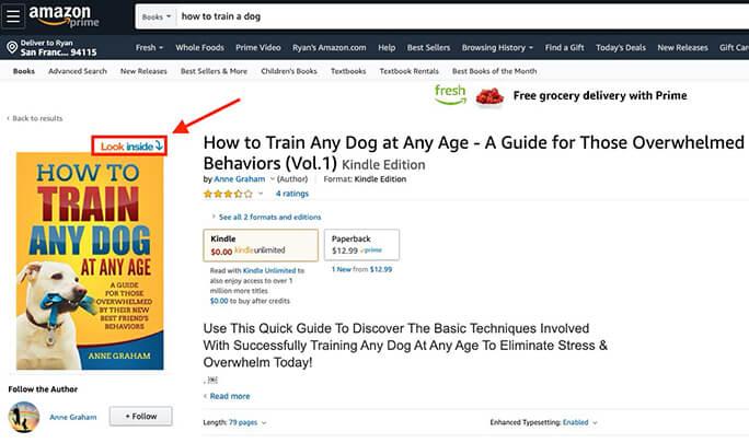 Паглядзіце ўнутр экрана Amazon eBook (Напішыце ўводзіны)