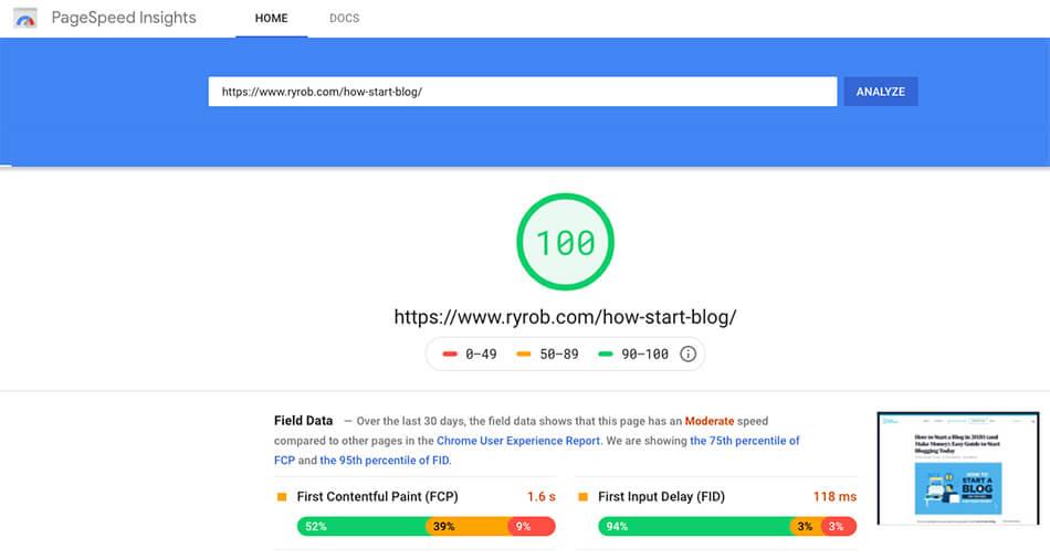 Page Load Speed (Screenshot of Load Test) in Blog Design