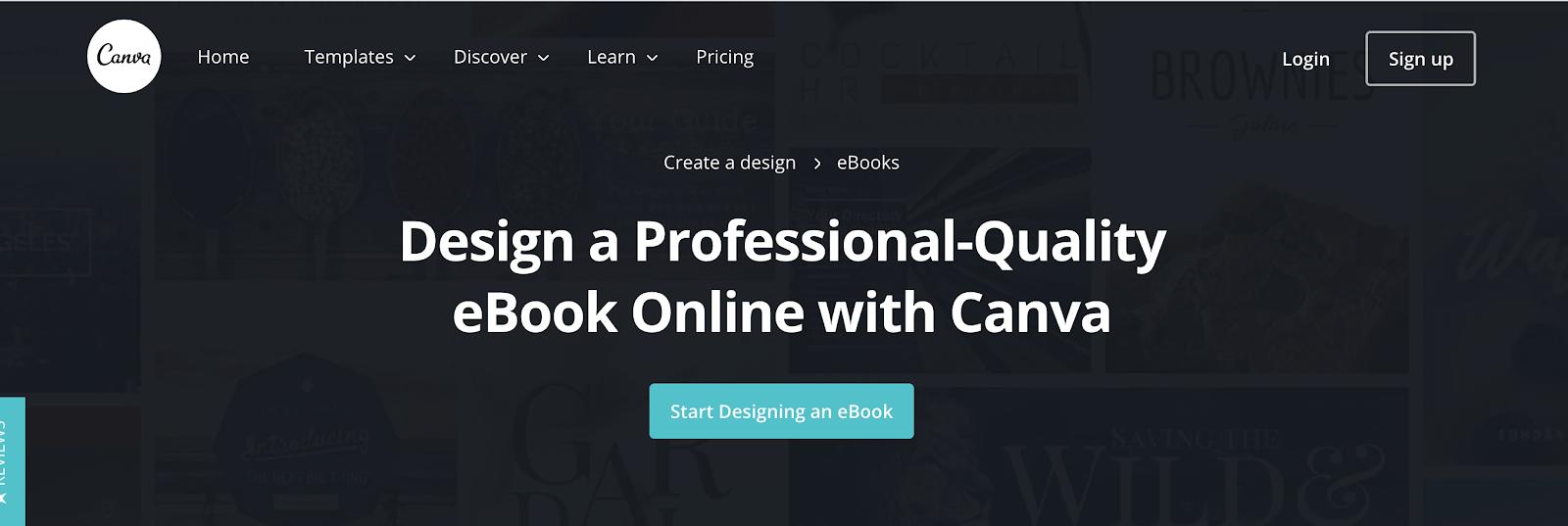 Canva Homepage Screenshot (eBook Designer Tool)